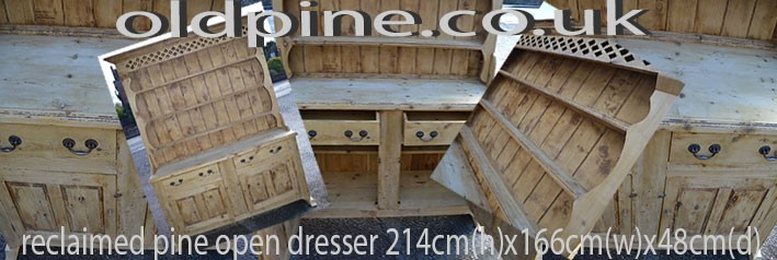 reclaimed pine open rack dresser scrubbed finish Stock ref:W3862 visit dresser page oldpine.co.uk
