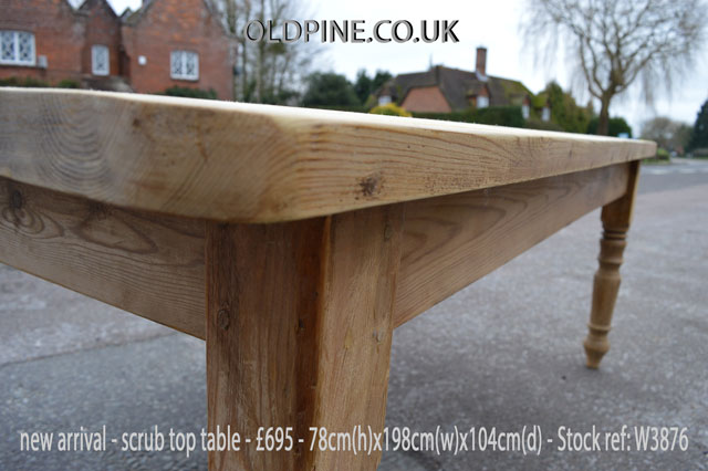 scrub top scrubbed stripped pine reclaimed farmhouse table
