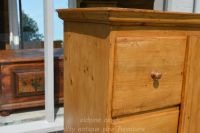 showing wooden knob on drawer front Stock ref W3964 bread/larder cupboard oldpine.co.uk