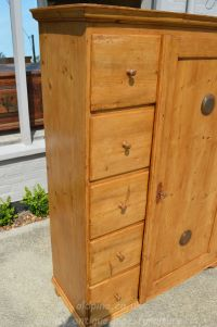 showing close up of five drawers Stock ref W3964 bread/larder cupboard oldpine.co.uk