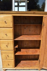 door open drawers closed showing fixed shelving Stock ref W3964 bread/larder cupboard oldpine.co.uk