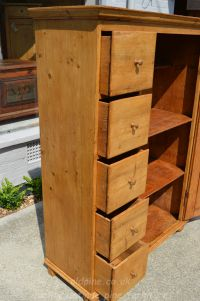 showing five drawers open door open Stock ref W3964 bread/larder cupboard oldpine.co.uk