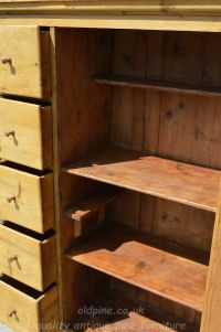 drawers open door open showing rustic fixed shelves inside Stock ref W3964 bread/larder cupboard oldpine.co.uk