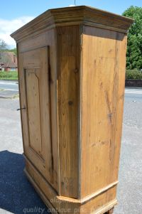 righthand side view of canted cupboard Stock ref W3948 oldpine.co.uk