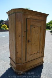 stripped pine canted cupboard waxed Stock ref W3948 oldpine.co.uk