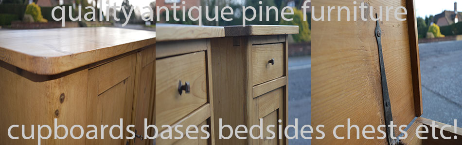 creative image showing antique pine cupboards bases bedsides chests
